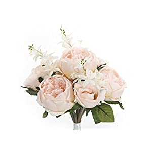 JenlyFavors English Rose Silk Flower Bouquet 29