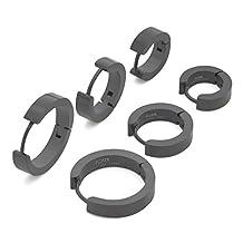 FOSIR Unique Stainless Steel Huggie Hoops Earrings Set Piercing for Men Women