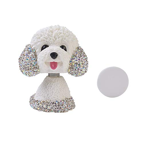 ATMOMO White Bling Diamond Bobble Dog Mini Shaking Head Heads Puppy Lucky Dog for Car Dashboard Decoration (Babe Ornament)