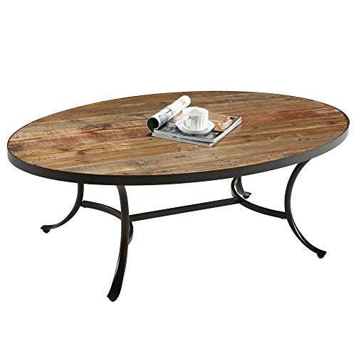 Country Style Reclaimed Wood Top Oval Shaped Cocktail Coffee Table | Metal Legs, Natural Finish, Living Room Decor - Includes Modhaus Living Pen (Oval Table Natural Wood)