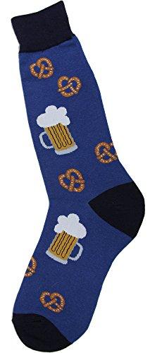 Foot Traffic - Men's Beverage-Themed Socks, Pretzels & Beer (Shoe Sizes 7-12)