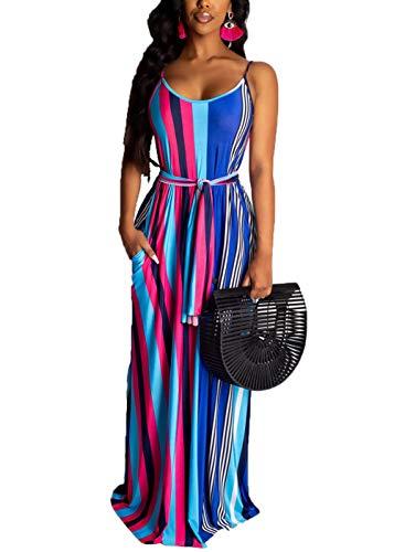 Sleeveless Maxi Dress for Dress - Casual Spaghetti Strap Round Neck Rainbow Stripe Print Floor Long Beach Summer Dresses Blue 2XL