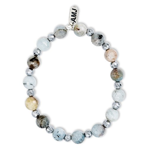 - A. Marie Two Tone Faceted Amazonite Stones and Silver Hematite Plated Stretch Bracelet