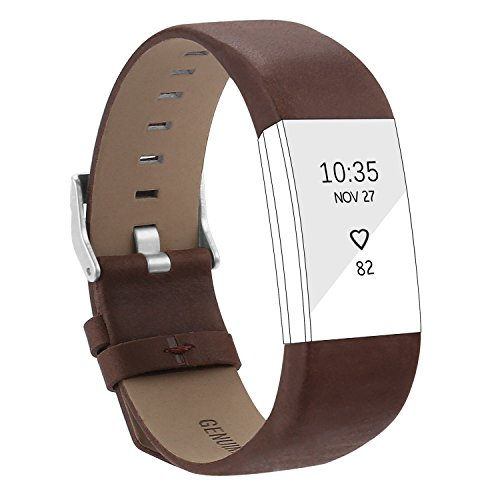 For Fitbit Charge 2 Wristband, Adjustable Genuine Leather Replacement Bands for Fitbit Charge 2 Coffee