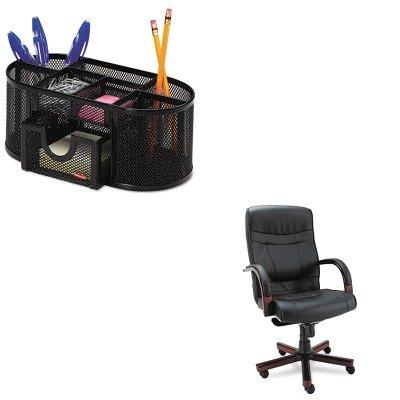 KITALEMA41LS10MROL1746466 - Value Kit - Best Madaris High-Back Knee Tilt Leather Chair w/Wood Trim (ALEMA41LS10M) and Rolodex Mesh Pencil Cup Organizer (ROL1746466)