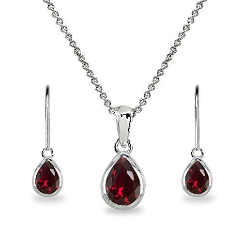 Sterling Silver Created Ruby Teardrop Bezel-Set Pendant Necklace & Dangle Earrings Set for Women, Teen Girls ()