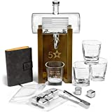 5 Star Decanters, 850mL Scotch Whiskey American Flag Decanter Set - Includes Liquor Dispenser, 4 Etched Whiskey Glasses, Wooden Stand, Stainless Steel Ice Cubes, Ice Tongs, Drinking Memento Booklet