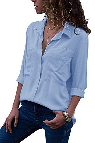 Yidarton Women's Long Sleeve V Neck Chiffon Blouses Tops Button Down Business Shirts(Sky Blue,M)