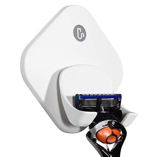 (Razor Holder for Shower Wall, Shower Hook for Razor, Self Adhesive Razor Holder Hanger Stronger than Suction Cup Razor Holder, Rigid Plastic Shower Razor Holder for Men and Women, 1 Pack)