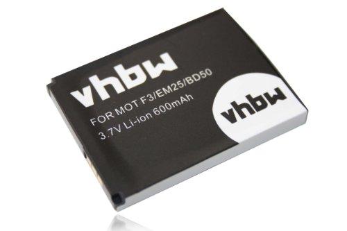 vhbw Li-Ion Akku 600mAh (3.7V) für schnurlos Festnetz Telefon Motorola Motofone F3, AVM Fritz! Fone MT-F, M2 wie 312BAT006, 100402.