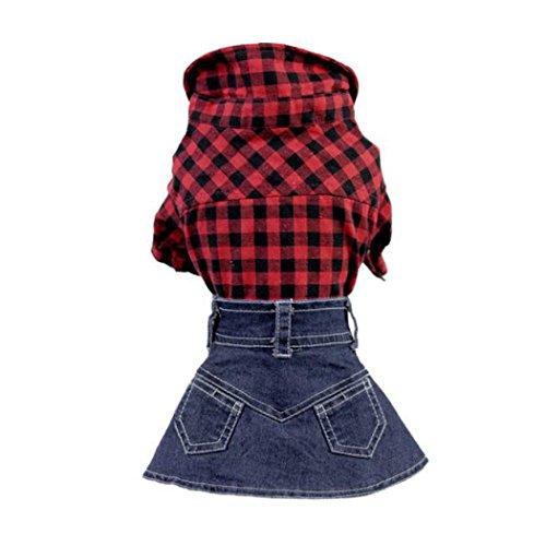 Dog Clothing, OOEOO Cute Doggie Short Denim Skirt Pet Small Puppy Skirt Apparel (Blue, XS)