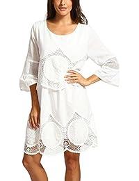 2408fa65e8499 Pumsun Women Summer Plus Size Lace Bohemian Style Hollow-Out Round Neck  Boho Beach Dress
