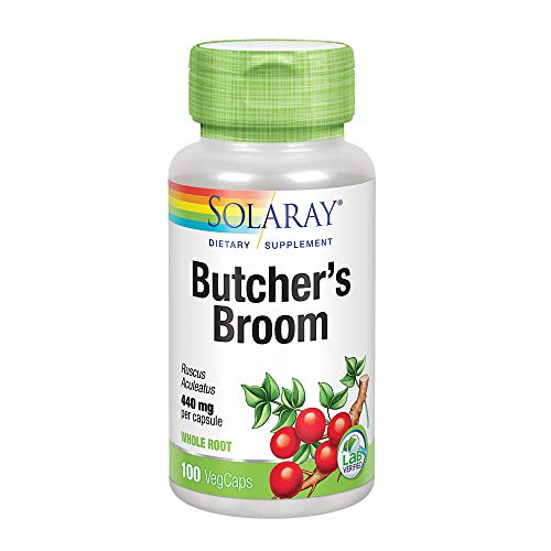 Solaray Butcher's Broom Capsules, 440 mg, 100 Count