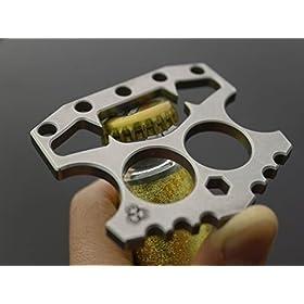 ILJILU Double Fingers Knuckles Fist Blades Bottle Opener Hex Key