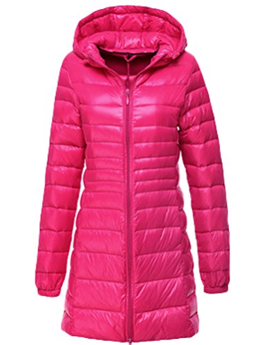 S XXL Jacket Lightweight Jacket Red Ultra Quilted Long Jacket Vogstyle Women's Rose Coat Down Hooded Down wgqxT7TF