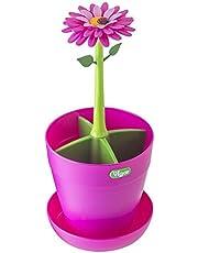 VIGAR Flower Power Escurrecubiertos para Cocina, Material: Polipropileno y Goma, Rosa, Verde, Dimensiones: 12 x 12 x 26,5 cm