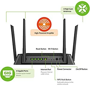 D-Link AC1750 High-Power Wi-Fi Gigabit Router, Dual Band, MU-MIMO, QoS, SmartConnect, 3X3 Wireless, 4 Gigabit Ports…