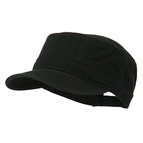 Washed Cotton Twill Army Cap - Black OSFM (Twill Hat Cotton Washed)