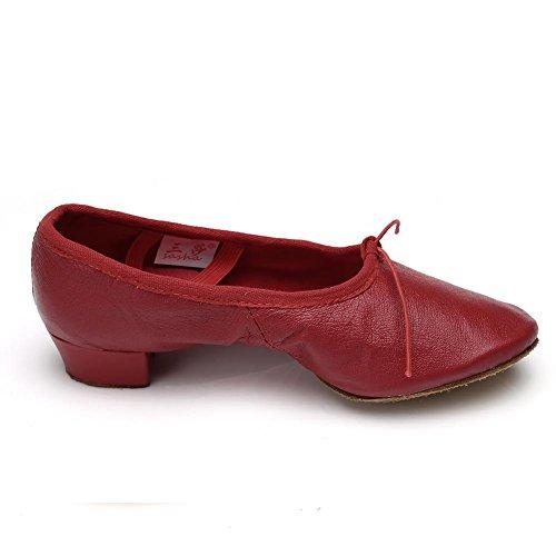 HROYL Mujer Zapatos de Baile Latino/Zapatos de Baile Maestro Cuero/Tela Salón de Baile 255 Rojo-L
