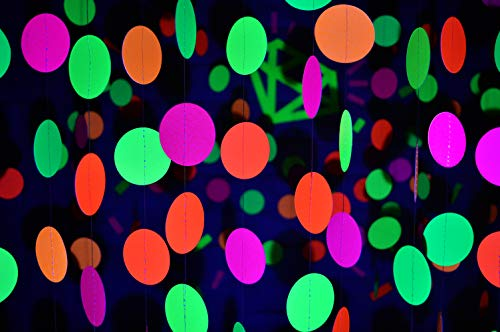 Glow In The Dark Happy Birthday Banner (Midnight Glo 78ft Neon Paper Garland Circle Dots Hanging Decorations for Birthday Party Wedding Decorations Black Light Reactive UV Glow Party (6)