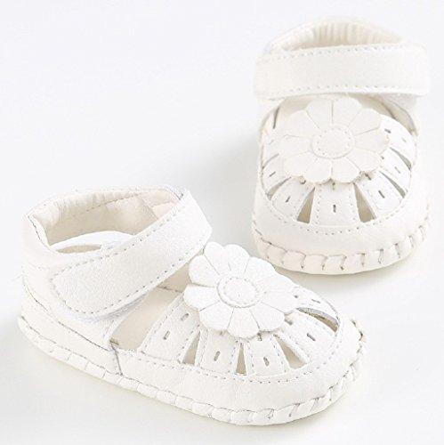 Bebé Prewalker Zapatos Auxma Zapatos De Cuna De Los Bebé Zapatos Flor Suela Antideslizante Zapatillas De Baño Zapatos Sandalias para 3-6 6-12 12-18 meses ( Blanco
