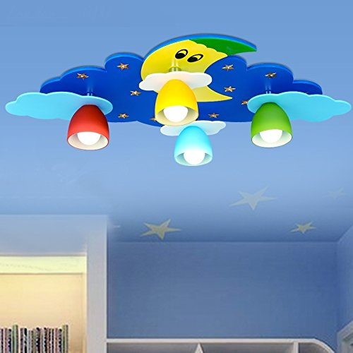 Children Toy Modern LED Moon Clouds Children Room Light Room Lamps And Lanterns Bedroom Cartoon Light Sweet ( Color : Blue ) by WINZSC