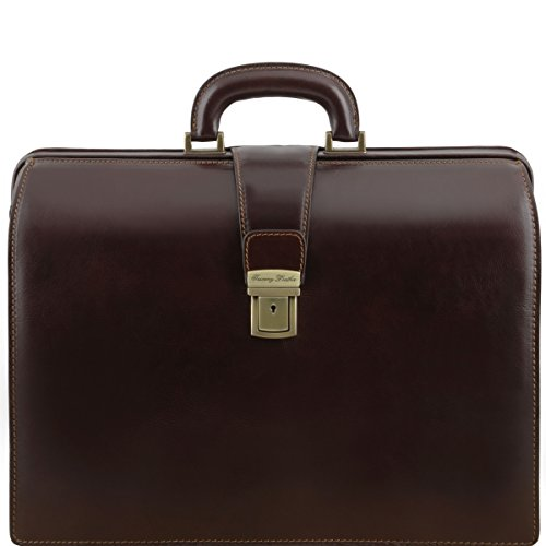 Tuscany Leather - Canova - Leather Doctor bag briefcase 3 compartments Dark Brown - TL141347/5 by Tuscany Leather