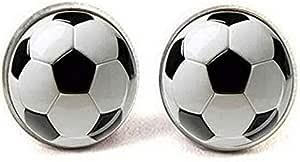 Pendientes de balón de fútbol, color blanco y negro, regalo para ...