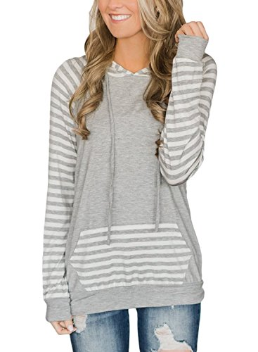 Lovezesent Women's Fashion Striped Raglan Long Sleeve Drawstring Pullover Hoodies Active Sweatshirts with Kangaroo Pocket Light Gray Large