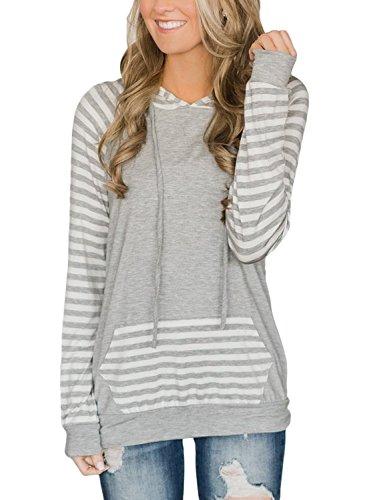 Lovezesent Women's Plus Size Fashion Striped Raglan Long Sleeve Drawstring Pullover Hoodies Active Sweatshirts with Kangaroo Pocket Light Gray XL