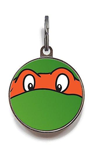 Wag-A-Tude Tags Ninja Turtle Orange Funny Custom Pet Tag Dog Tag Cat Tag Pet Tag (Large) ()
