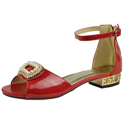 Girls Rhinestone Pearl Bow Accent Pageant Dress Low Heel Sandals Red