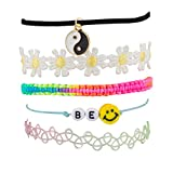 Lux Accessories Peace Be Happy Smile Rainbow Price Sunflower Floral Flower Woven Arm Candy Bracelet Set