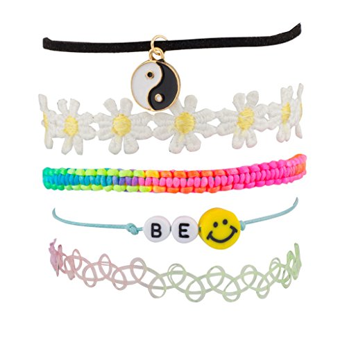 [Lux Accessories Peace Be Happy Smile Rainbow Price Sunflower Floral Flower Woven Arm Candy Bracelet] (Arm Candy Costume)