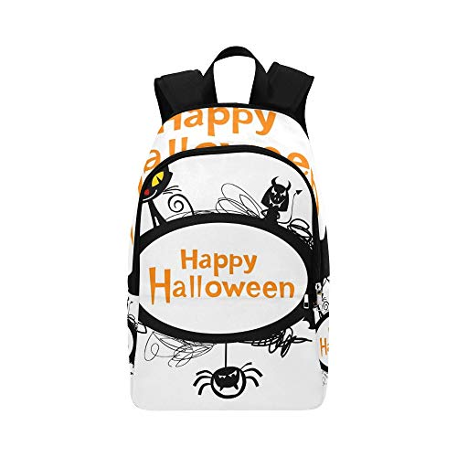 YSWPNA Halloween Frame Silhouettes Black Cat Casual Daypack Travel Bag College School Backpack for Mens and Women