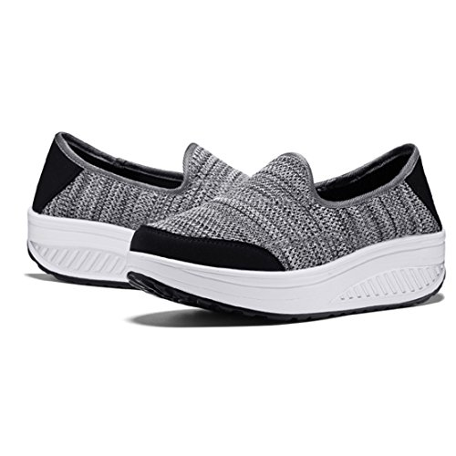 wyhweilong Women Sneakers Outdoor Walking Running Slip on Wedges Breathable Mesh Shoes for Women Grey vHfe5QwisS