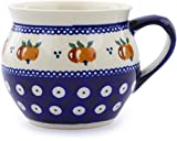 Polish Pottery 11 oz Bubble Mug (Country Apple Peacock Theme) + Certificate of Authenticity
