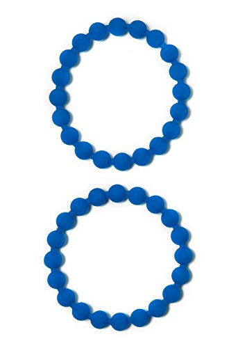 Chewable Jewelry Food Grade Silicone Bead Bracelets Fun Sensory Motor Aid Speech And Communication Aid Great For Autism And Sensory-Focused Kids - 2 Blue Bracelets
