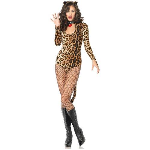 Leg Avenue Women's 2 Piece Wildcat Keyhole Teddy Costume With Tail And Ear Headband, Leopard, Medium/Large
