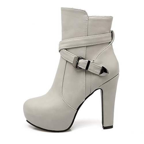 Allhqfashion Mujeres High-heels Soft Leather Low-top Sólido Cremallera Botas Gris