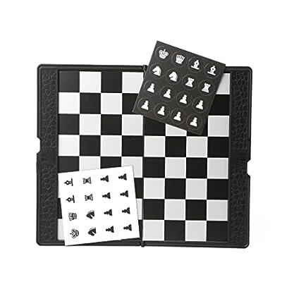 UJuly Pocket Magnetic Foldable International Chess Set Board Checkers for Traveler Plane Rest Pocket Chess Game
