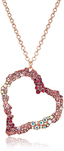 Betsey Johnson Women's Pink Tonal Stone Heart Pendant ()