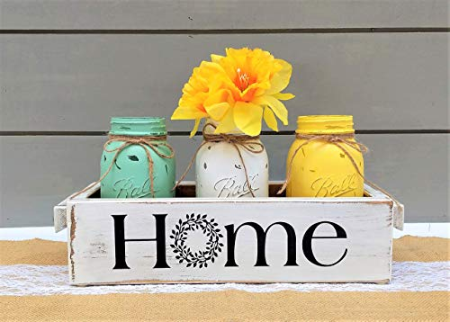 Mason Jars Mothers Day Spring Centerpiece Farmhouse Style Home Rustic Wood ()