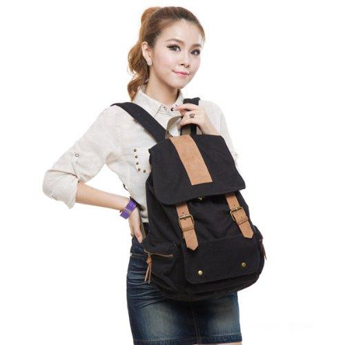Frauen Mädchen Jahrgang Baumwoll-Canvas-Rucksack Schultasche Schulranzen Wandern Tasche Schultasche (schwarz)