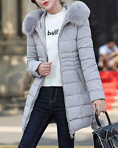 breal Unie Femme Mode Elgante Hiver Col En Manteau Doudoune Doudoune Fausse Hiver Confortables Avec clair Manteau Dsinvolte Quilting Poches Grau Couleur Fermeture Fourrure Blouson Capuchon Automne r7qwxprf6U
