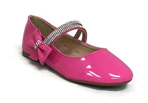 ANNA Kids Dress Ballet Flats Fuchsia 2 US Little Kid (Pink Mary Jane Dress Shoes)