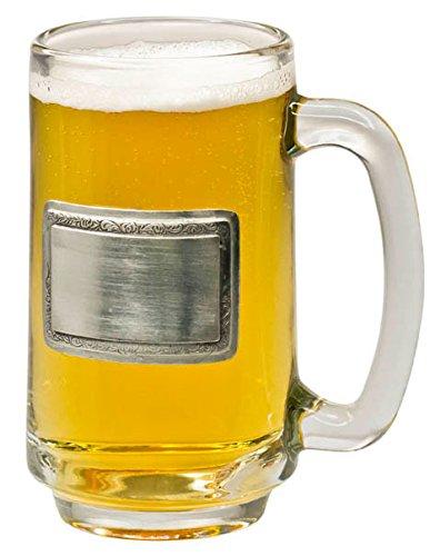 Visol Argyle Glass Beer Mug with Pewter - Engravable Glasses