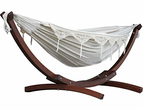 Vivere Solid Pine Wood Hammock Combo, Natural