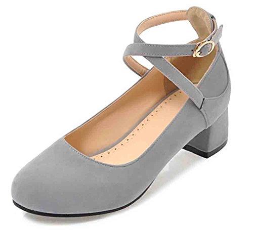 Easemax Mujeres Sweet Round Toe Low Cut Hebilla Cruzada En El Tobillo Correa De Tacón Medio Bombas Zapatos Gris