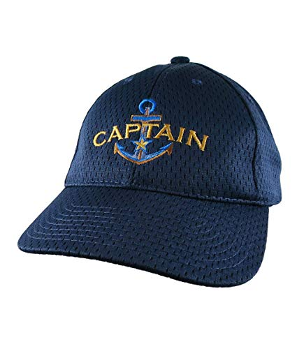 A Boat Captain Nautical Star Anchor Embroidery on an Adjustable Sporty Navy Blue Structured Baseball Cap Personalization Options